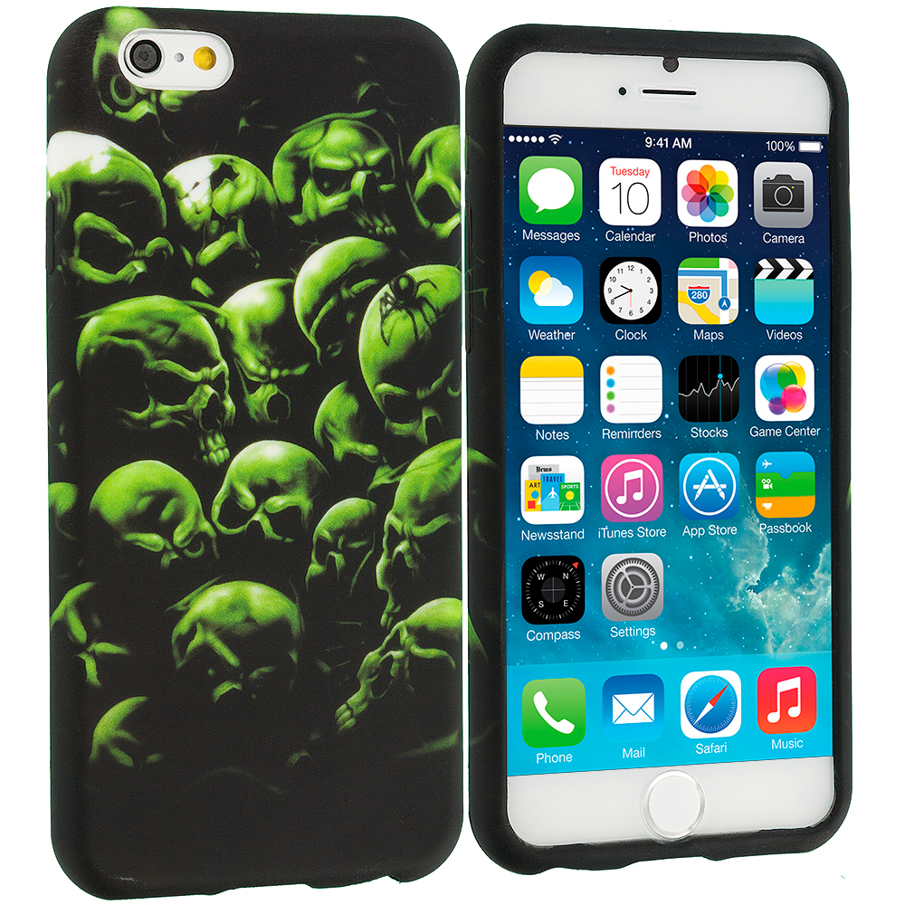 Apple iPhone 6 Plus 6S Plus (5.5) Green Skulls TPU Design Soft Rubber Case Cover