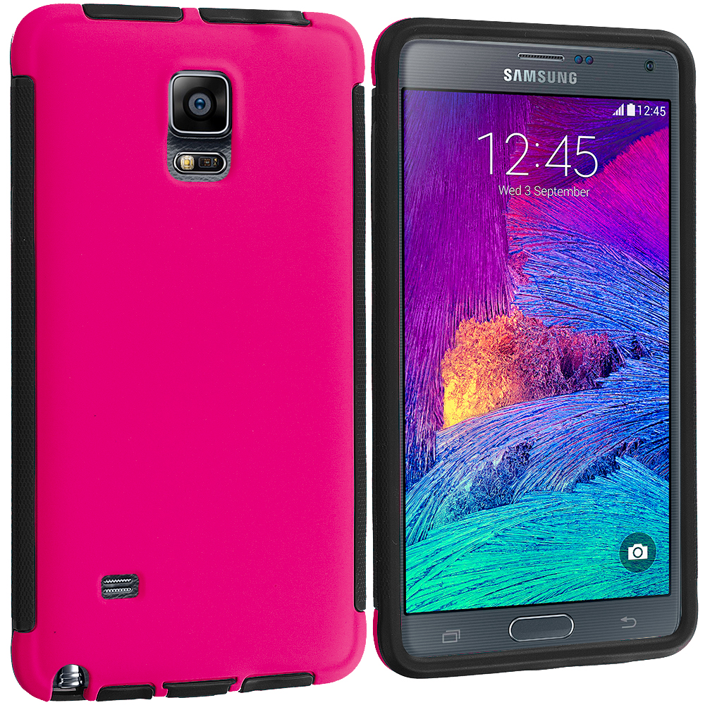 Samsung Galaxy Note 4 Black / Hot Pink Hybrid Hard TPU Shockproof Case Cover With Built in Screen Protector