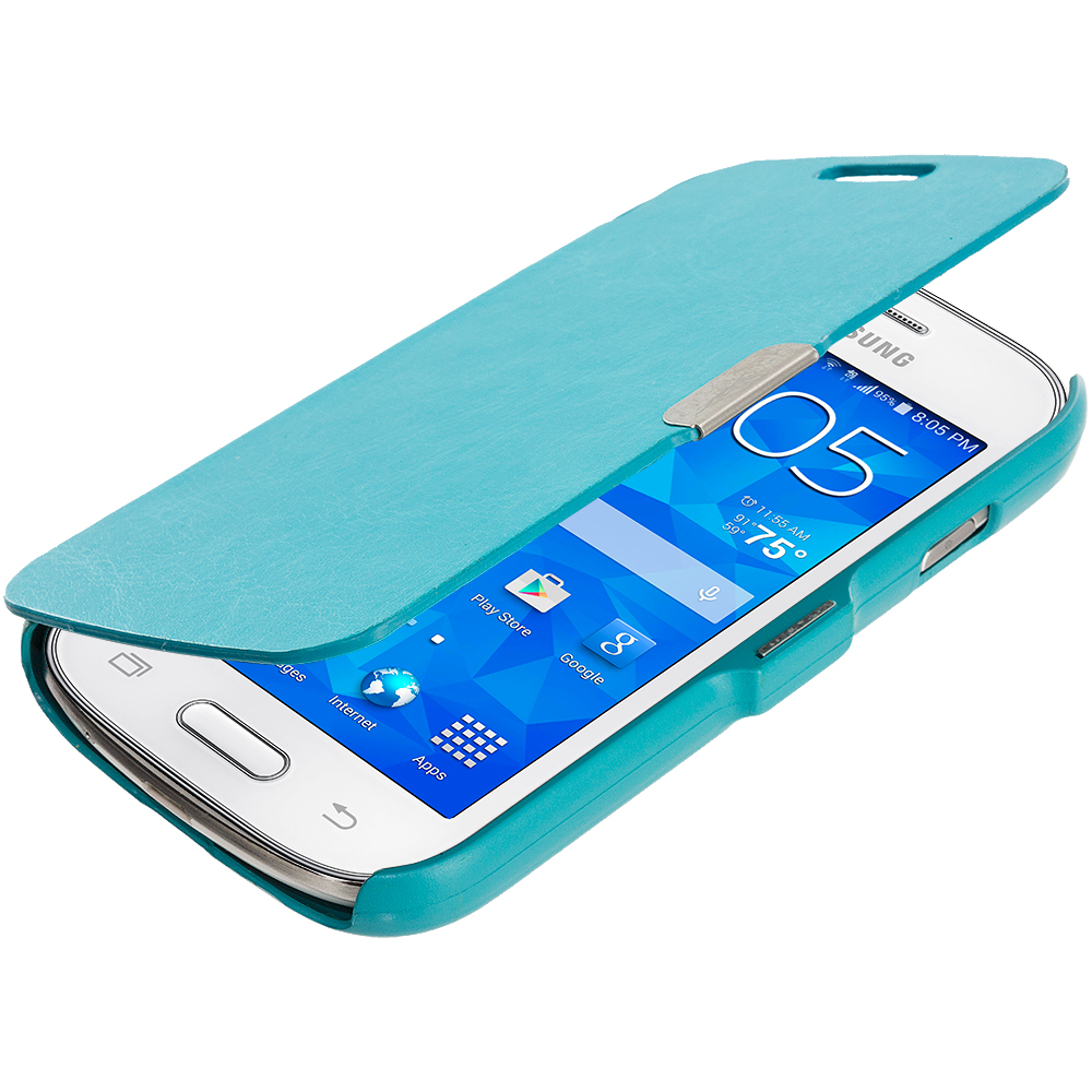 Samsung Galaxy Ace Style S765C Baby Blue Magnetic Flip Wallet Case Cover Pouch