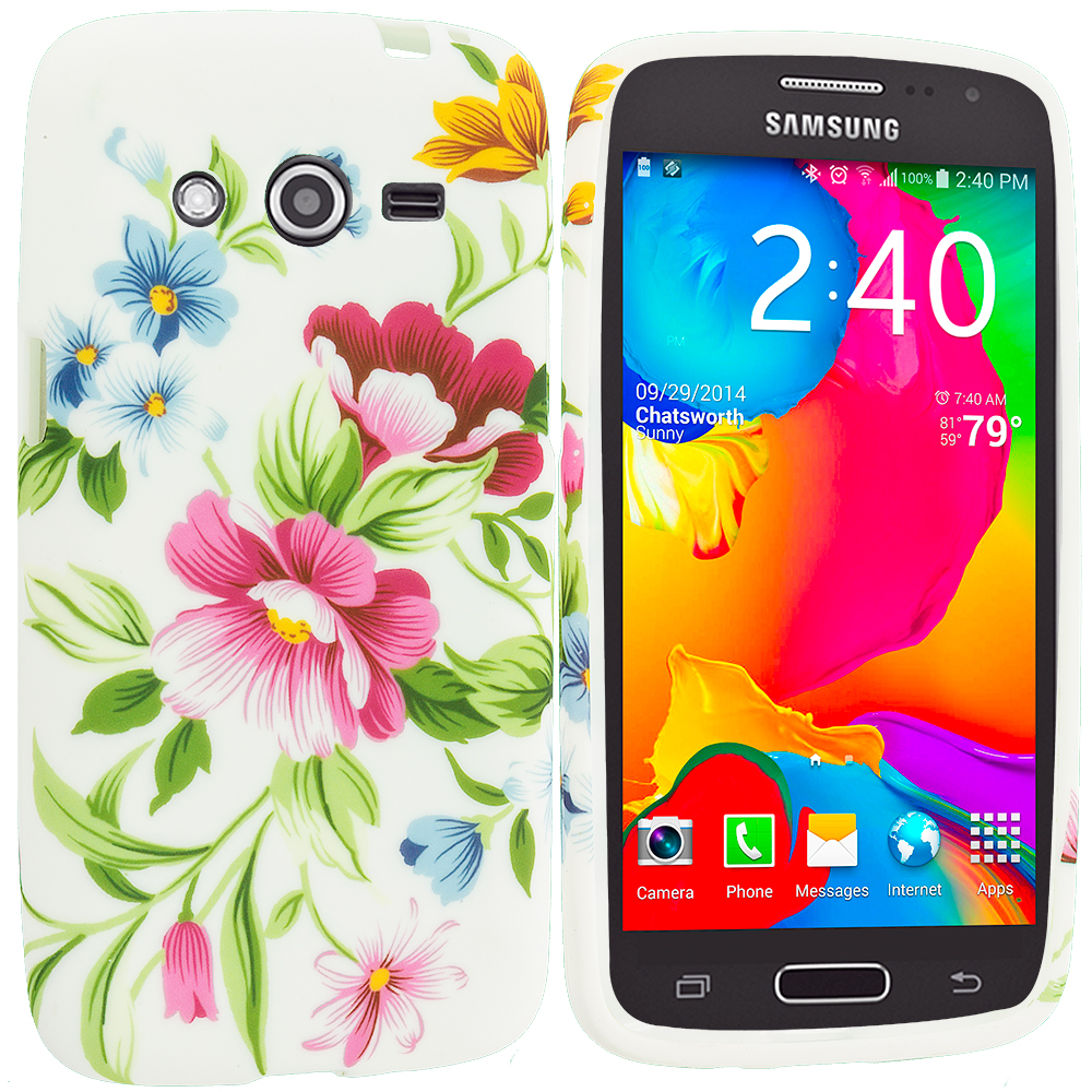 Samsung Galaxy Avant G386 Flower Painting TPU Design Soft Rubber Case Cover