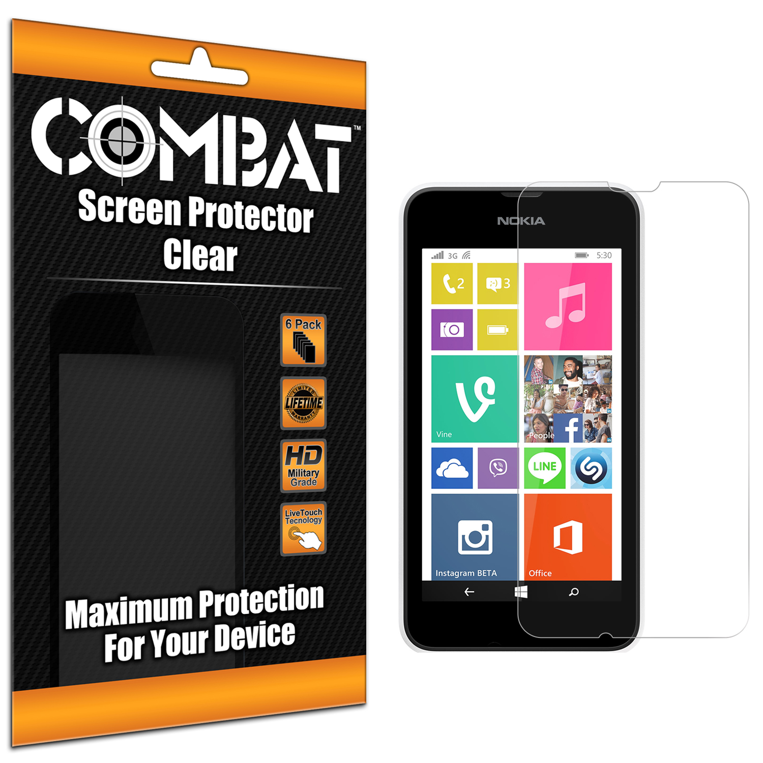 Nokia Lumia 530 Combat 6 Pack HD Clear Screen Protector