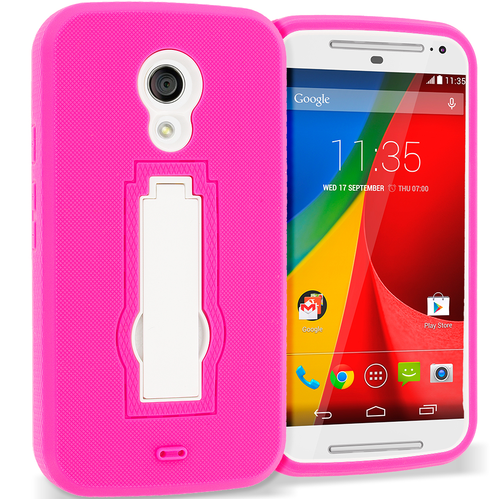 Motorola Moto G 2nd Gen 2014 Hot Pink / White Hybrid Heavy Duty Hard Soft Case Cover with Kickstand