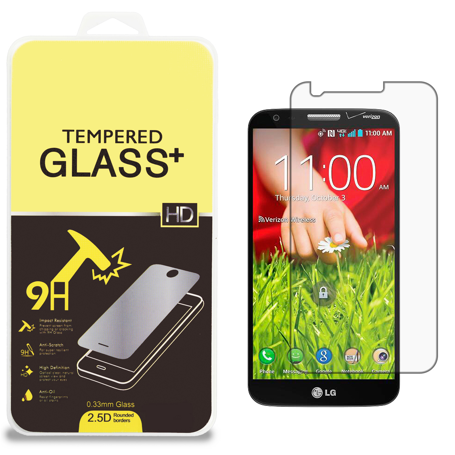 LG G2 Clear Tempered Glass High Quality 0.33mm LCD Screen Protector