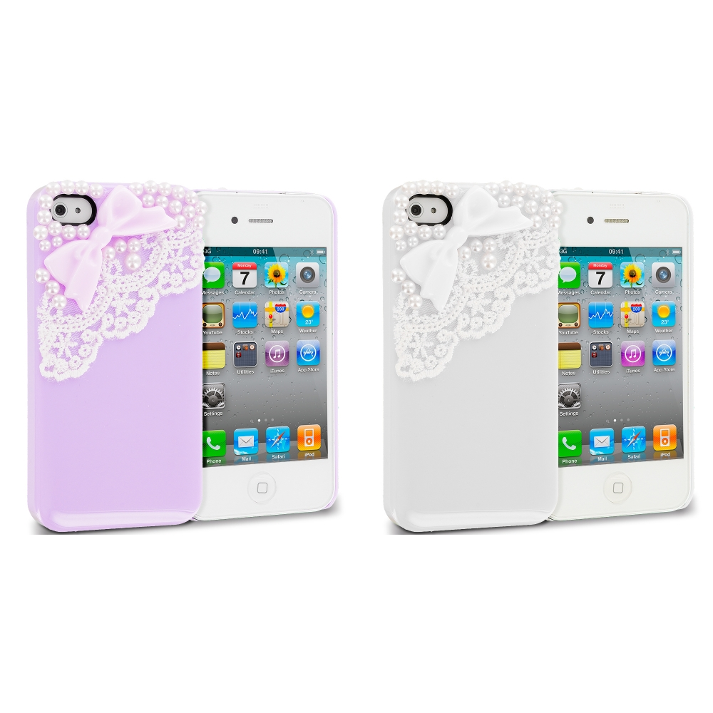 Apple iPhone 4 / 4S 2 in 1 Combo Bundle Pack - White Purple Pearls Crystal Hard Back Cover Case