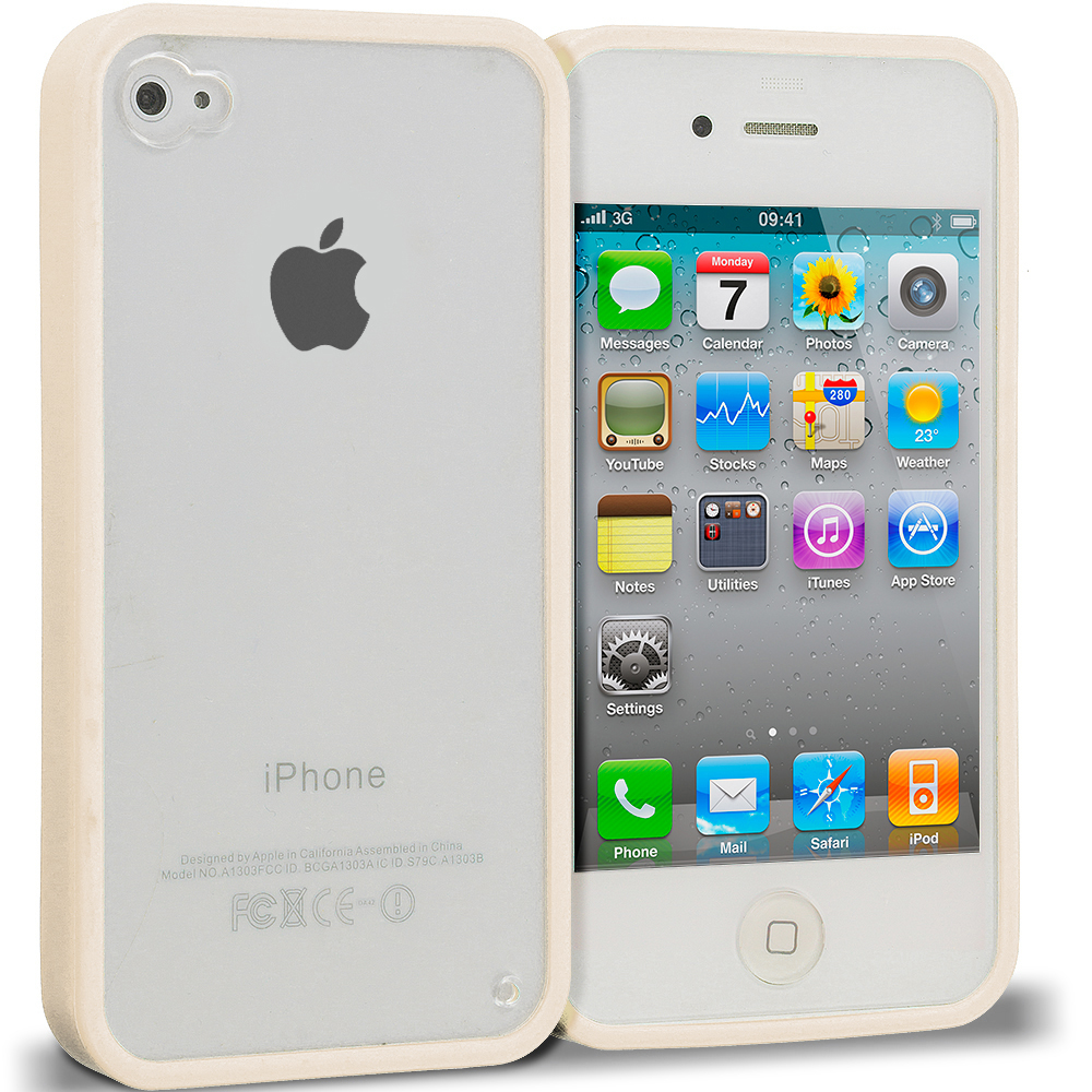 Apple iPhone 4 / 4S Cream TPU Plastic Hybrid Case Cover