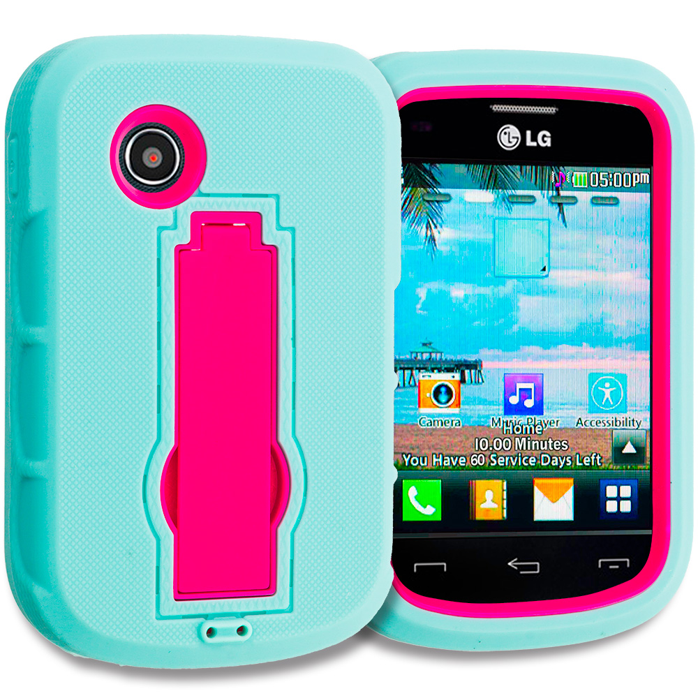 LG 306G / Aspire LN280 Teal / Hot Pink Hybrid Heavy Duty Hard Soft Case Cover with Kickstand