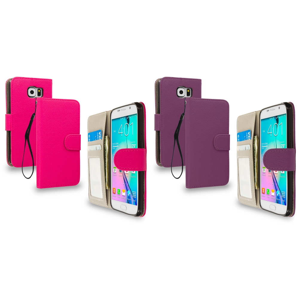 Samsung Galaxy S6 Combo Pack : Hot Pink Leather Wallet Pouch Case Cover with Slots