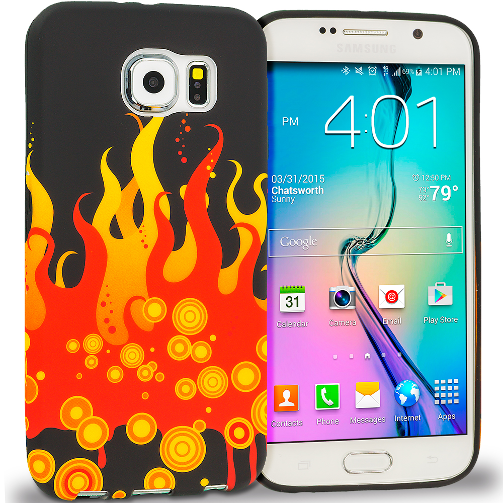 Samsung Galaxy S6 Combo Pack : Red Flame TPU Design Soft Rubber Case Cover : Color Red Flame