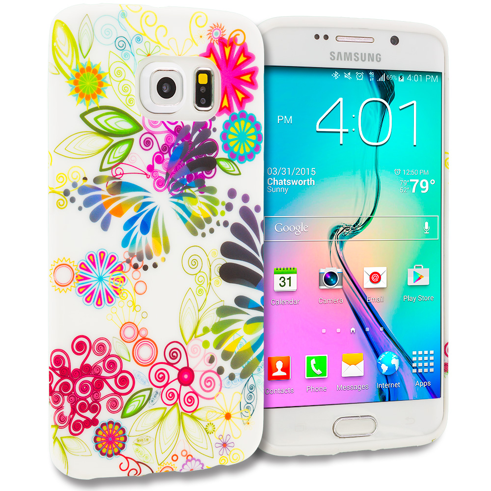Samsung Galaxy S6 Edge Flower Rainbow Colorful TPU Design Soft Rubber Case Cover