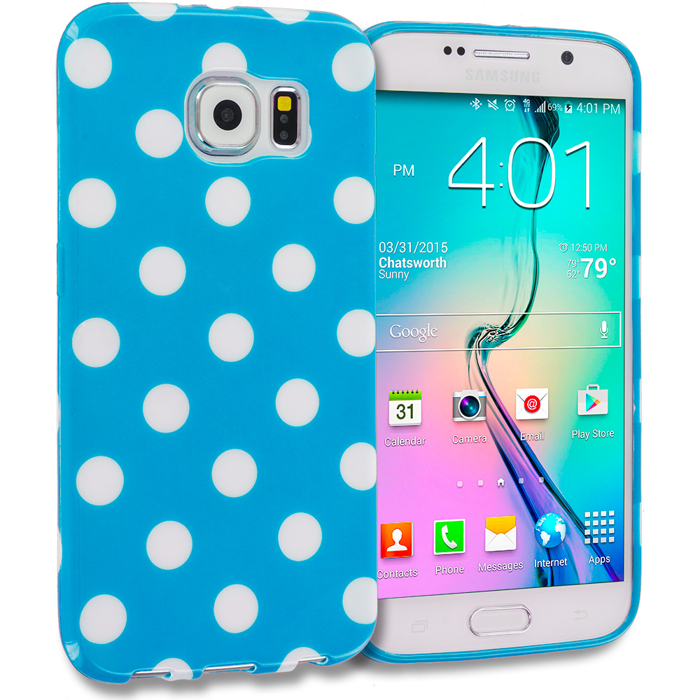 Samsung Galaxy S6 Edge Baby Blue / White TPU Polka Dot Skin Case Cover