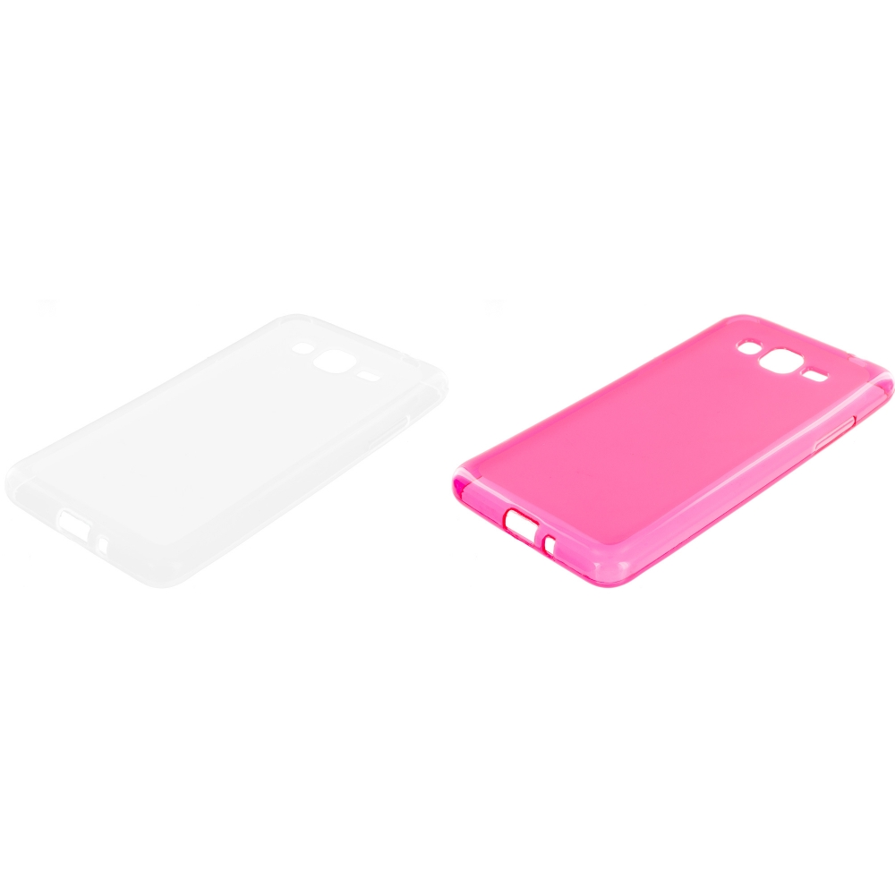 Samsung Galaxy Grand Prime LTE G530 2 in 1 Combo Bundle Pack - Clear Pink TPU Rubber Skin Case Cover