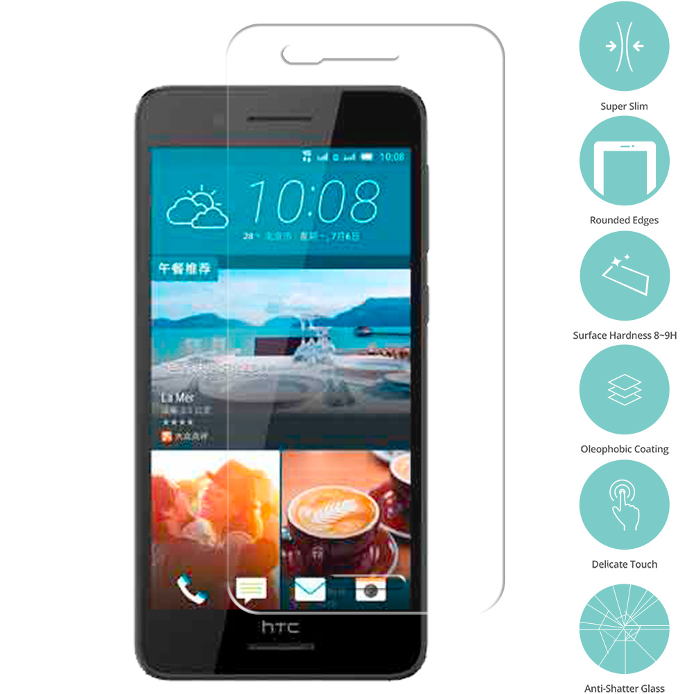 HTC Desire 728 Clear Tempered Glass Film Screen Protector Clear