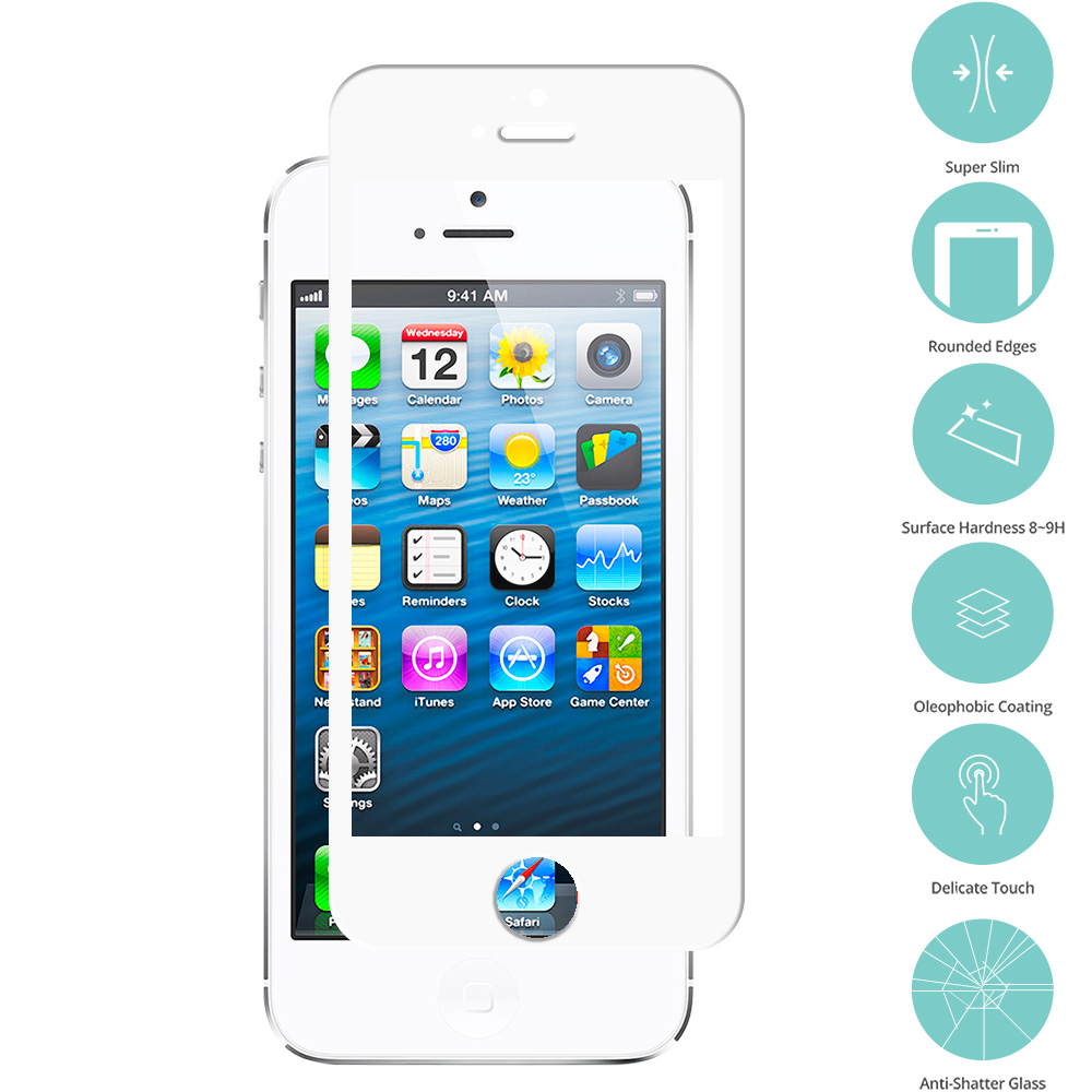 Apple iPhone 5/5S/SE/5C 2 in 1 Combo Bundle Pack - Gold White Tempered Glass Film Screen Protector Colored : Color White
