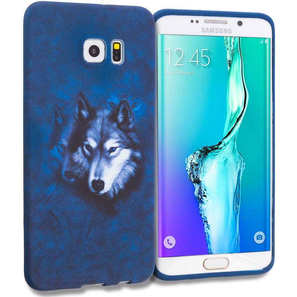 Samsung Galaxy S6 Edge Plus + Wolf TPU Design Soft Rubber Case Cover