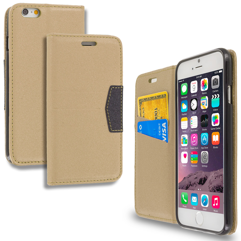 Apple iPhone 6 Plus 6S Plus (5.5) Gold Wallet Flip Leather Pouch Case Cover with ID Card Slots
