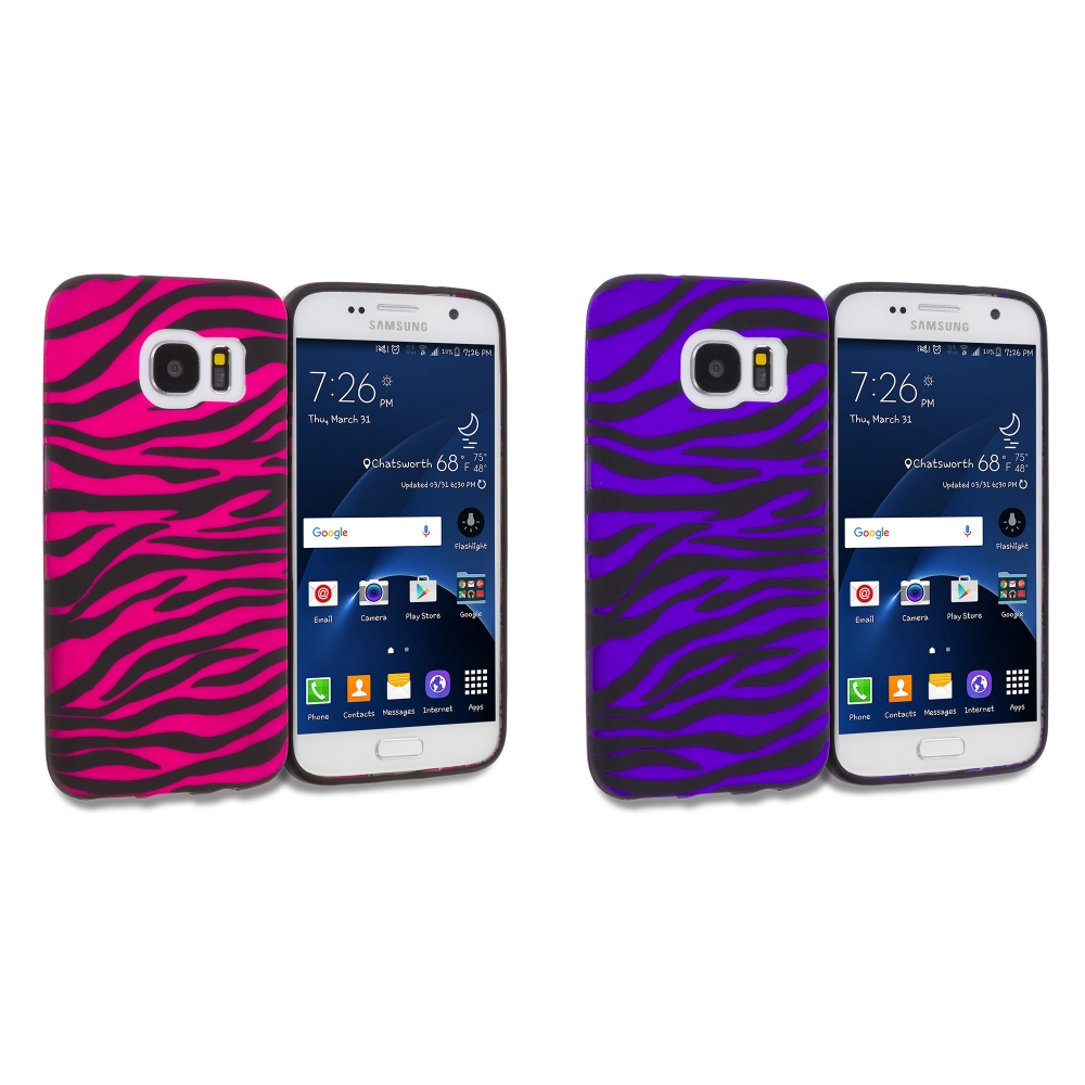 Samsung Galaxy S7 Combo Pack : Black / Hot Pink Zebra TPU Design Soft Rubber Case Cover