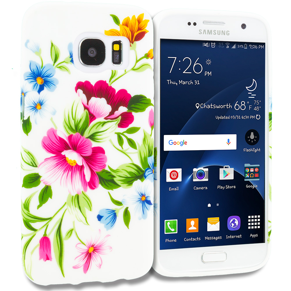 Samsung Galaxy S7 Combo Pack : Colorful Flower TPU Design Soft Rubber Case Cover : Color Flower Painting