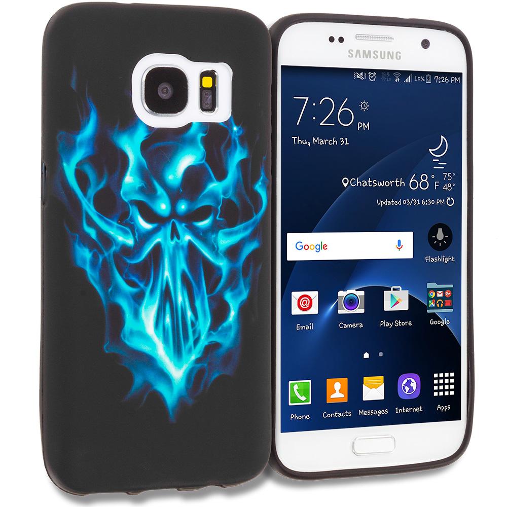 Samsung Galaxy S7 Edge Blue Skull Face TPU Design Soft Rubber Case Cover