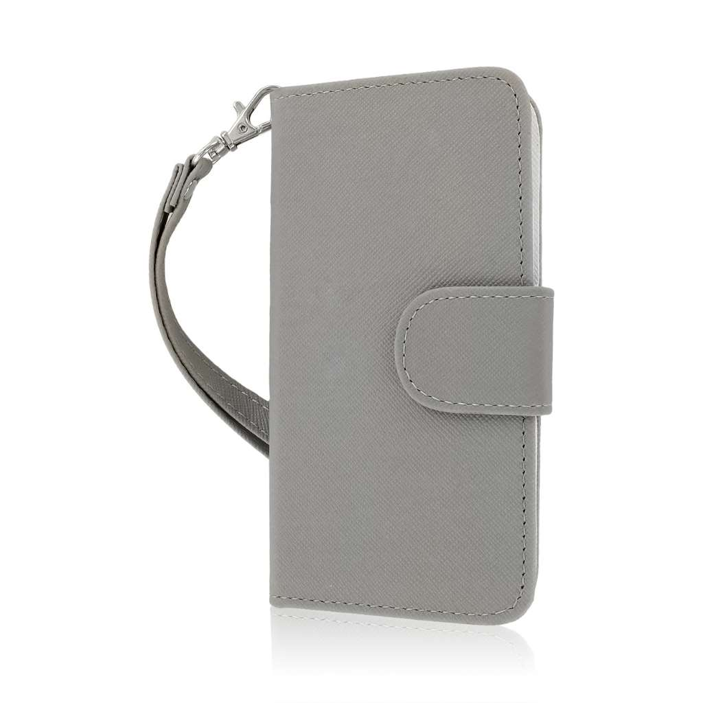 Apple iPhone 5 / 5S - Gray MPERO FLEX FLIP Wallet Case Cover