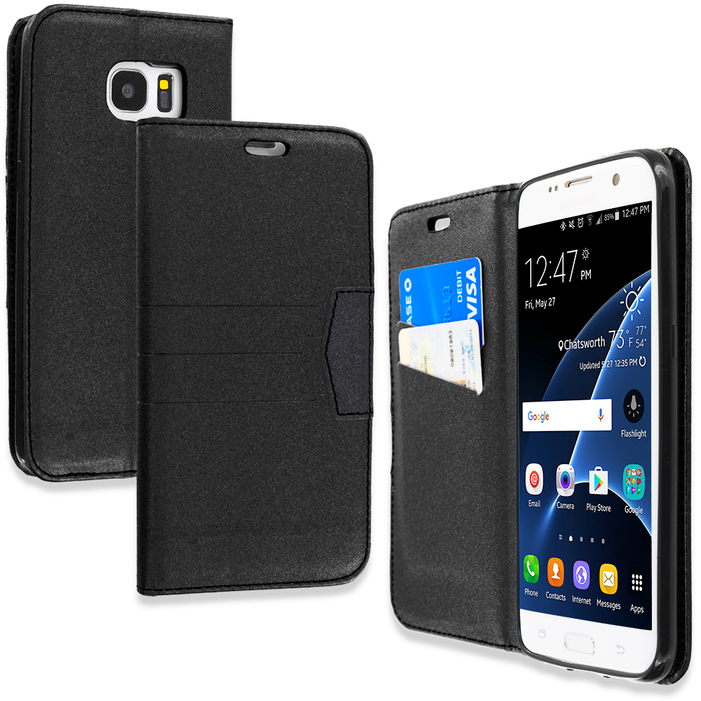 Samsung Galaxy S7 Edge Black Wallet Flip Leather Pouch Case Cover with ID Card Slots