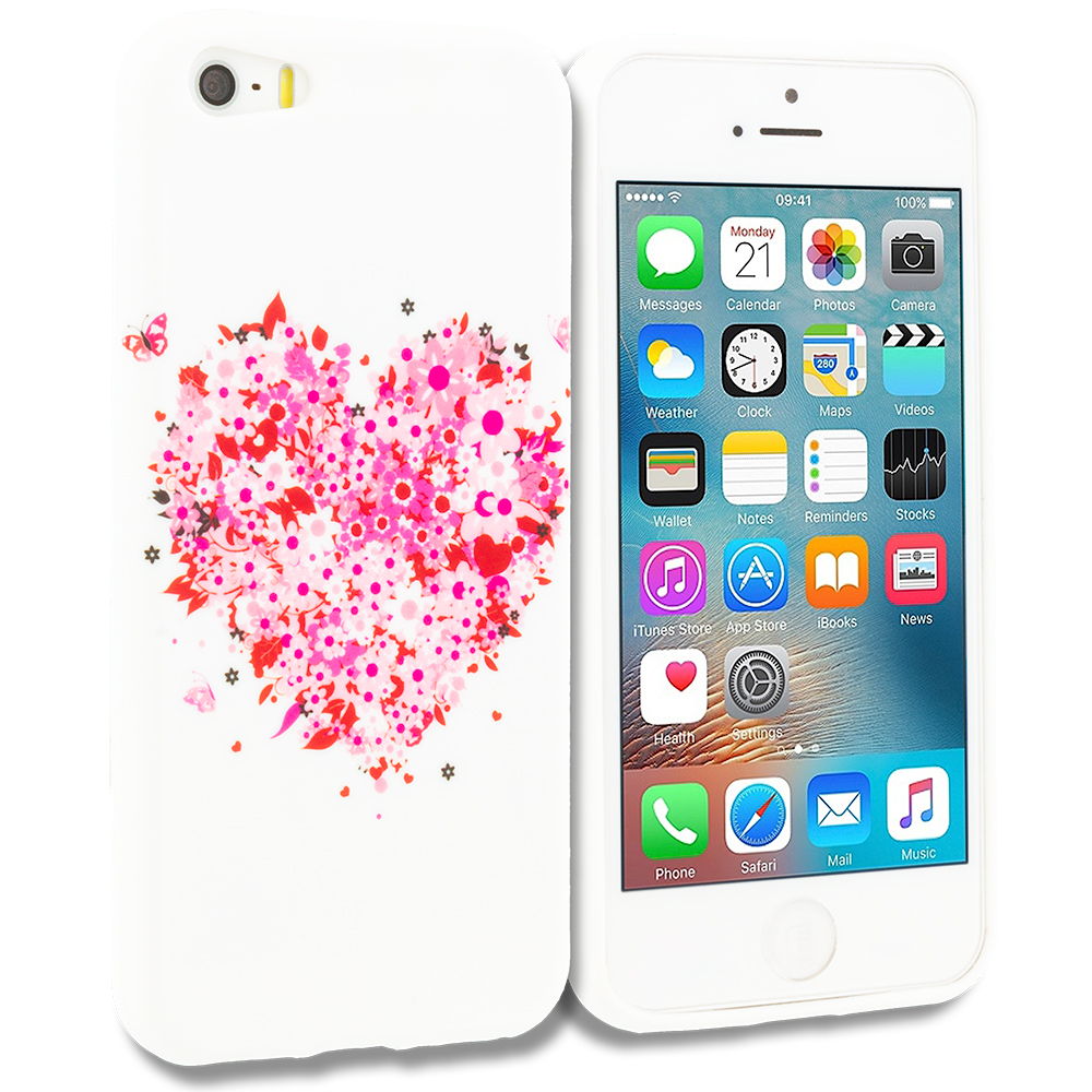 Apple iPhone 5/5S/SE Combo Pack : Hearts Full of Flowers on White TPU Design Soft Rubber Case Cover : Color Hearts Full of Flowers on White