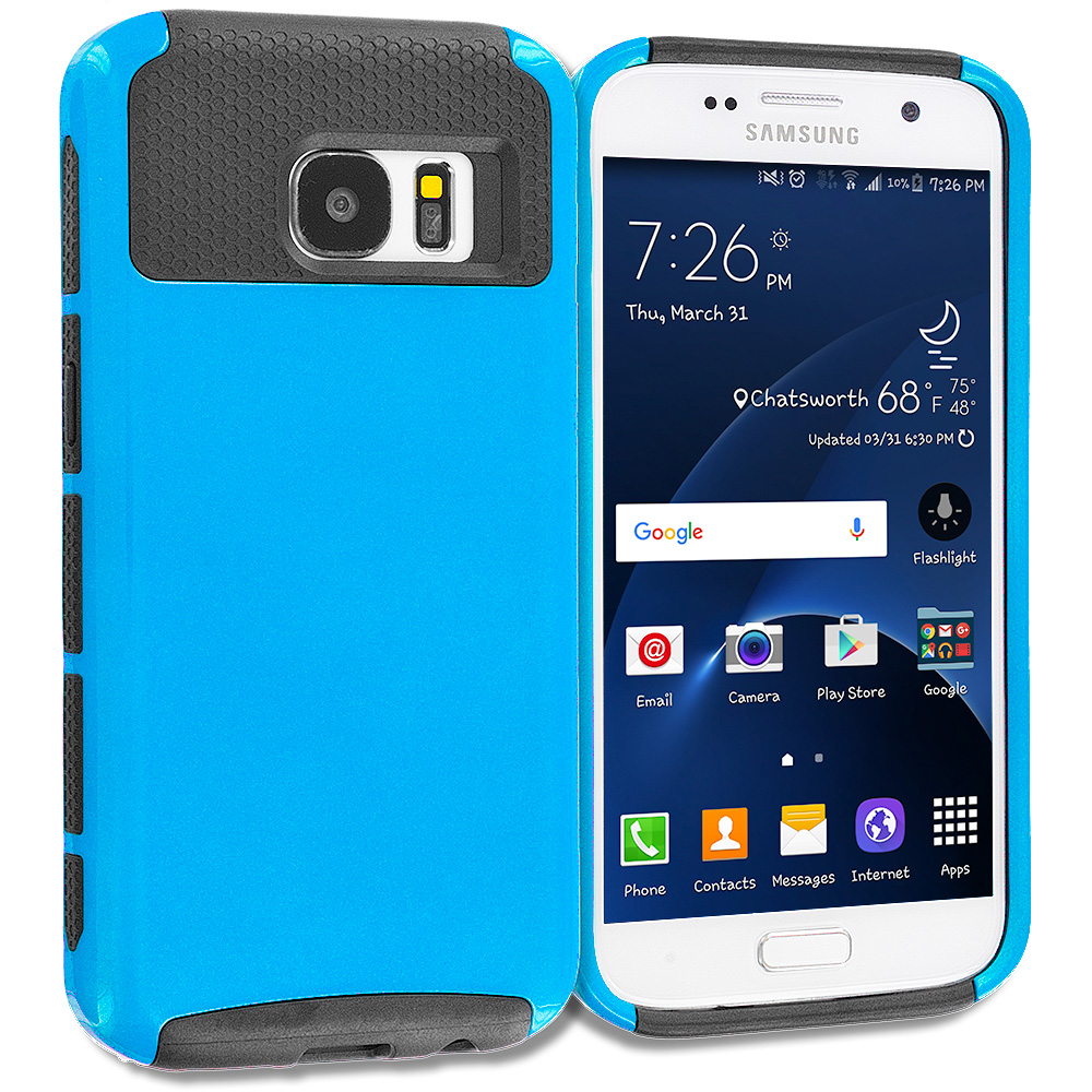 Samsung Galaxy S7 Combo Pack : Mint Green / Gray Hybrid Hard TPU Honeycomb Rugged Case Cover : Color Blue / Black