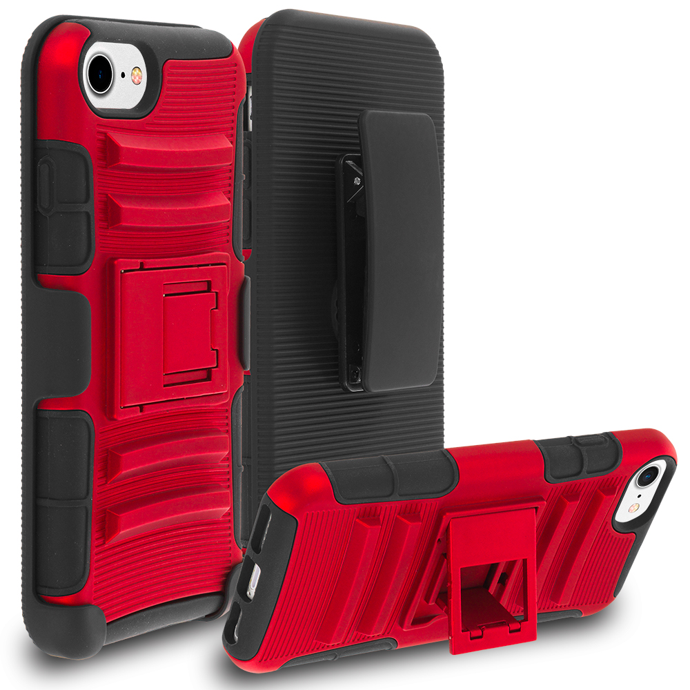 Apple iPhone 7 Red Hybrid Heavy Duty Rugged Case Cover with Belt Clip Holster