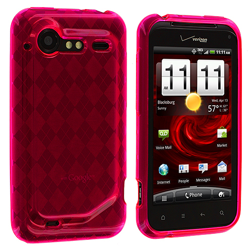 HTC Droid Incredible 2 6350 Hot Pink Checkered TPU Rubber Skin Case Cover