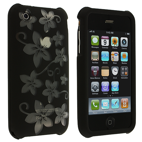 Apple iPhone 3G / 3GS Black / Hawaii Hard Rubberized Design Case Cover