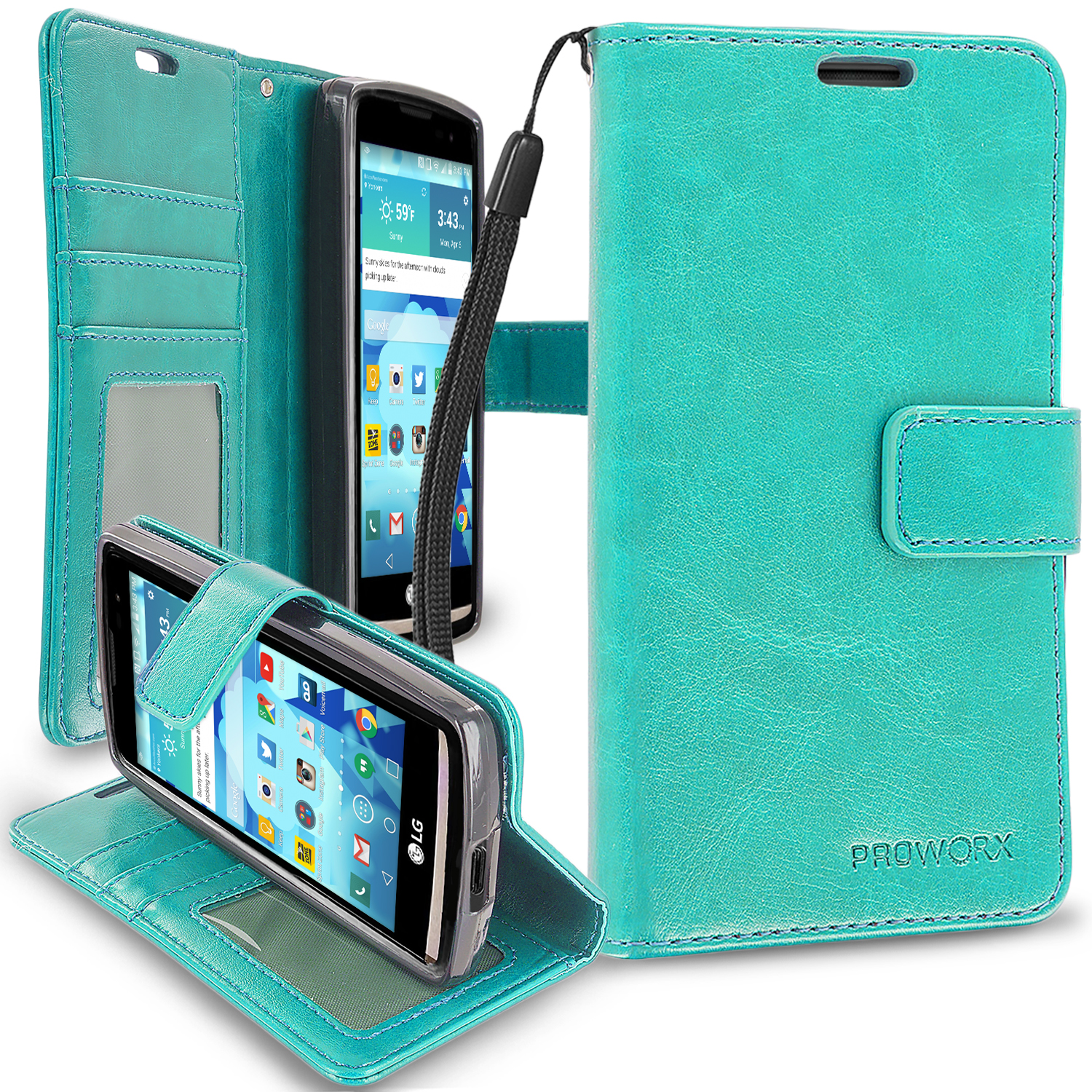 LG Tribute 2 Leon Power Destiny Mint Green ProWorx Wallet Case Luxury PU Leather Case Cover With Card Slots & Stand