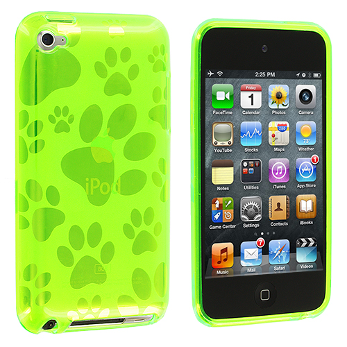 Apple iPod Touch 4th Generation Green Dog Paw TPU Rubber Skin Case Cover