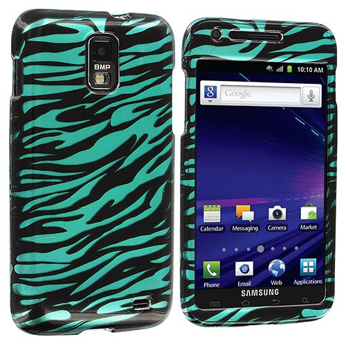 Samsung Skyrocket i727 Black / Baby Blue Zebra Design Crystal Hard Case Cover