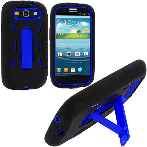 Samsung Galaxy S3 Black / Blue Hybrid Heavy Duty Hard/Soft Case Cover with Stand