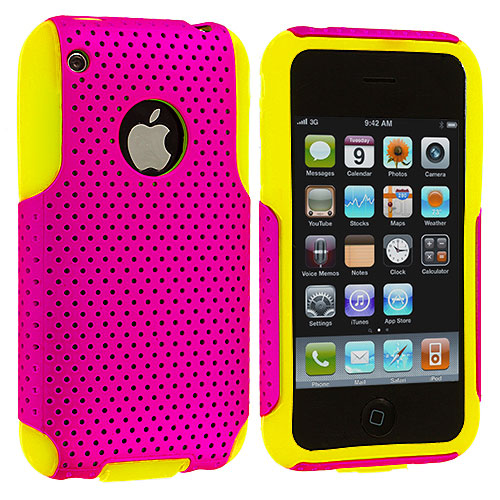 Apple iPhone 3G / 3GS Yellow / Pink Hybrid Mesh Hard/Soft Case Cover