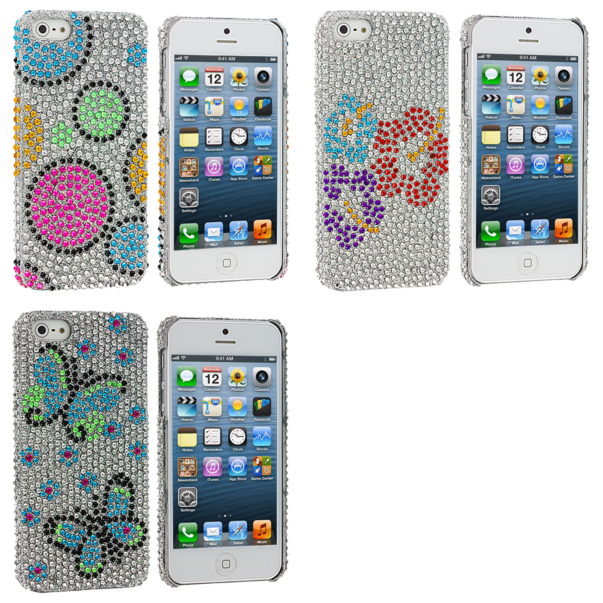 Apple iPhone 5/5S/SE Combo Pack : Colorful Hubble Bubble Bling Rhinestone Case Cover