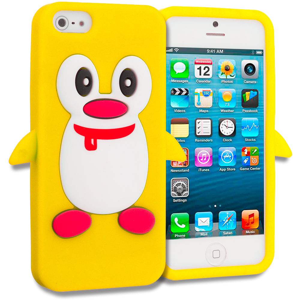 Apple iPhone 5/5S/SE Yellow Penguin Silicone Design Soft Skin Case Cover