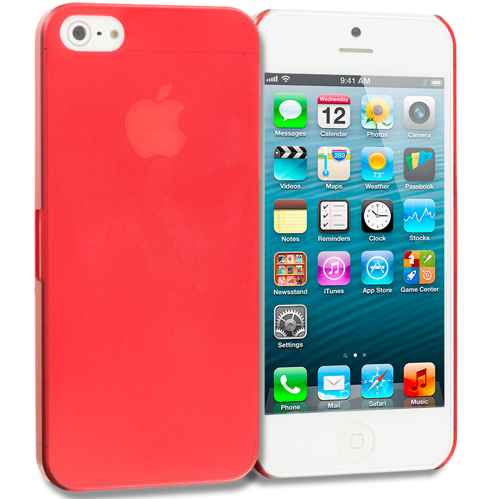 Apple iPhone 5/5S/SE Combo Pack : Purple 0.3mm Crystal Hard Back Cover Case : Color Red 0.3mm