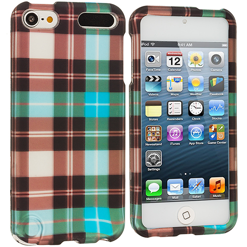 Apple iPod Touch 5th 6th Generation Blue Checker Hard Rubberized Design Case Cover