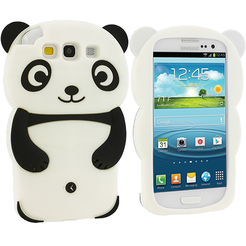 Samsung Galaxy S3 Black Panda Silicone Design Soft Skin Case Cover