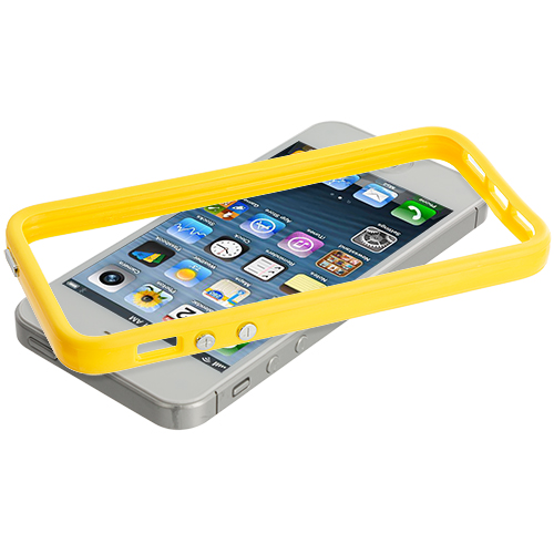 Apple iPhone 5/5S/SE Combo Pack : Solid Red TPU Bumper with Metal Buttons : Color Solid Yellow