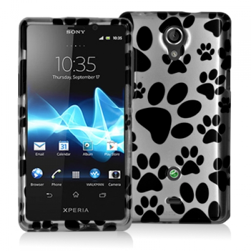 Sony Xperia TL Dog Paw Design Crystal Hard Case Cover