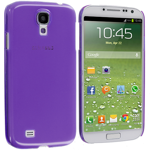 Samsung Galaxy S4 2 in 1 Combo Bundle Pack - Clear Crystal Hard Back Cover Case : Color Purple