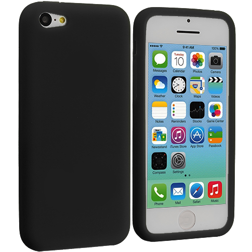 Apple iPhone 5C 2 in 1 Combo Bundle Pack - Black Clear Silicone Soft Skin Case Cover : Color Black