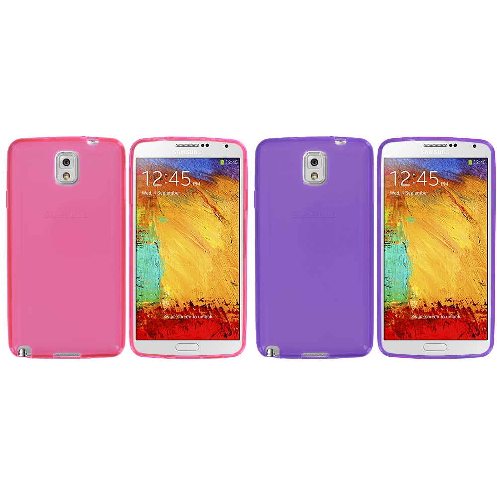 Samsung Galaxy Note 3 N9000 2 in 1 Combo Bundle Pack - Light Pink Purple TPU Rubber Skin Case Cover
