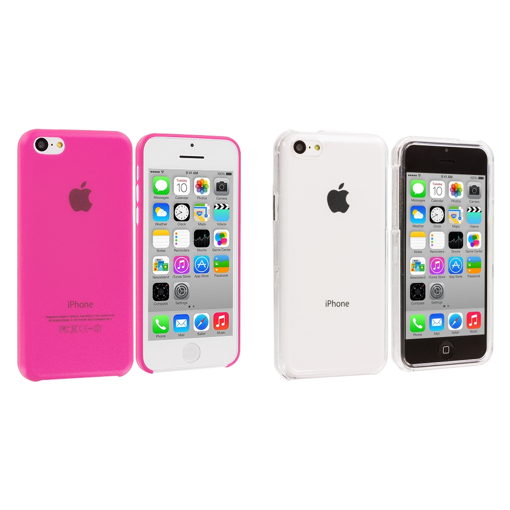 Apple iPhone 5C 2 in 1 Combo Bundle Pack - Clear Crystal Transparent Hard Case Cover