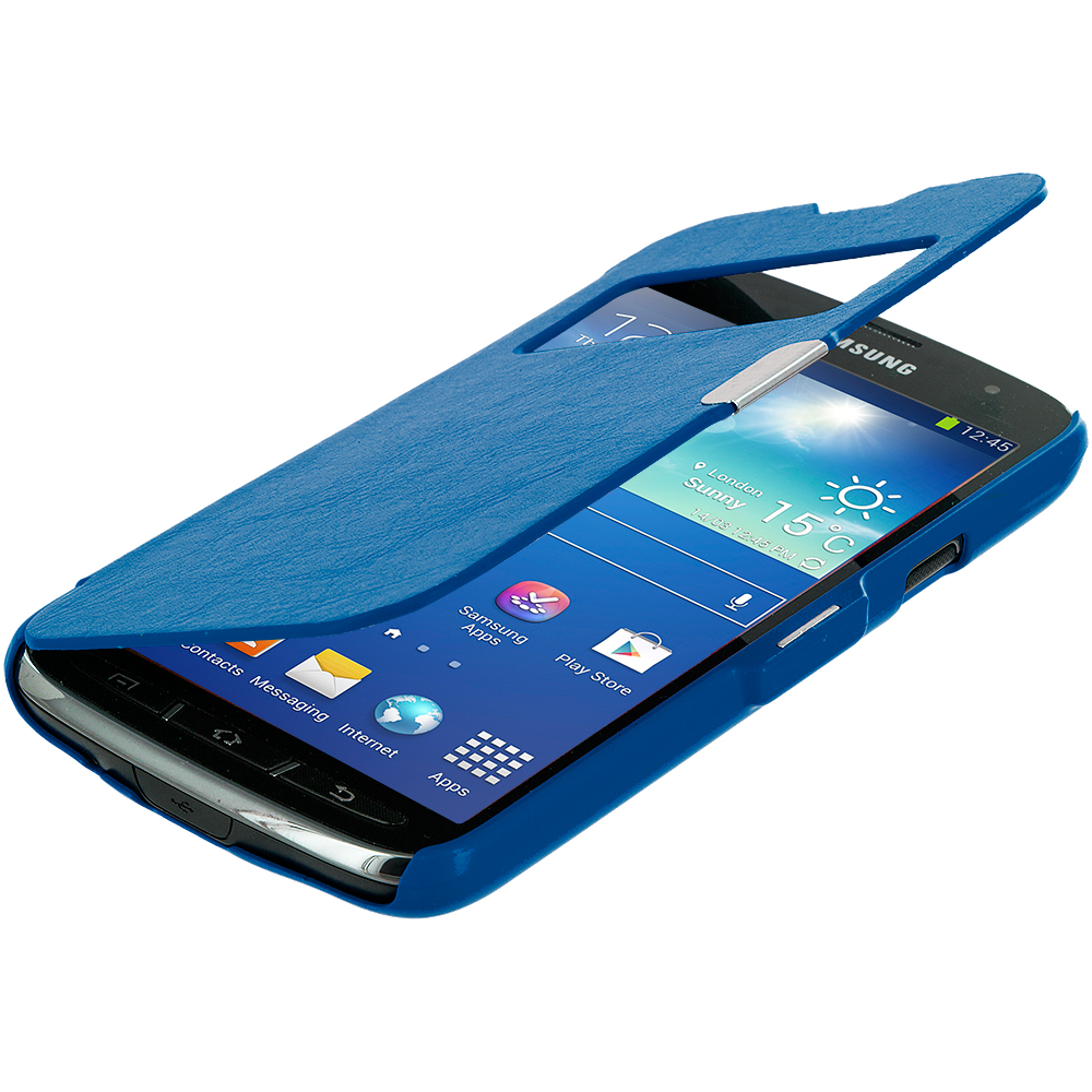 Samsung Galaxy S4 Active i537 Blue (Open) Magnetic Wallet Case Cover Pouch