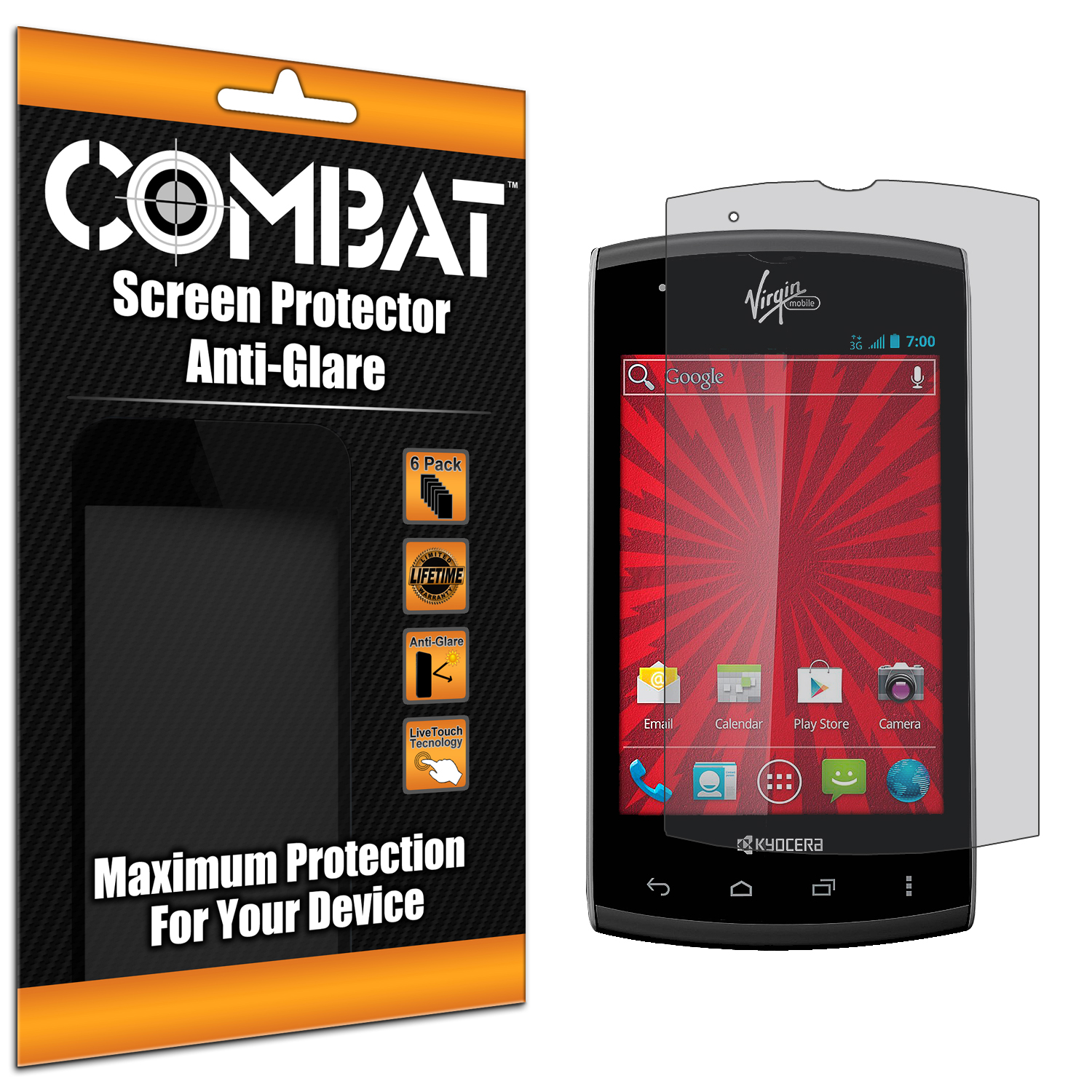 Kyocera Rise Combat 6 Pack Anti-Glare Matte Screen Protector