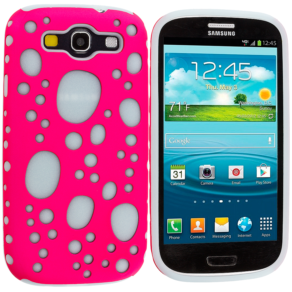 Samsung Galaxy S3 Pink / Blue Hybrid Bubble Hard/Soft Skin Case Cover