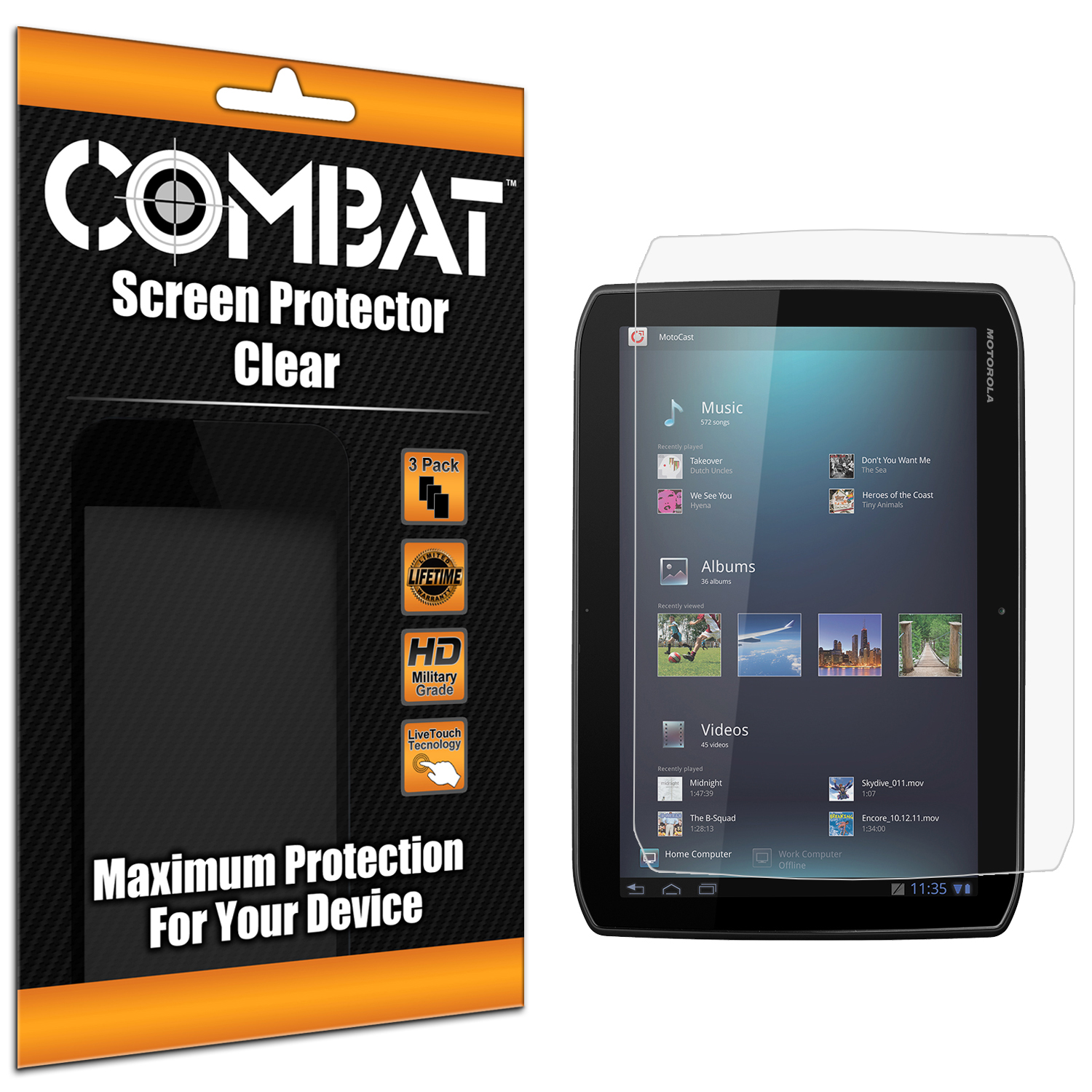Motorola Droid XYBoard 8.2 Combat 3 Pack HD Clear Screen Protector