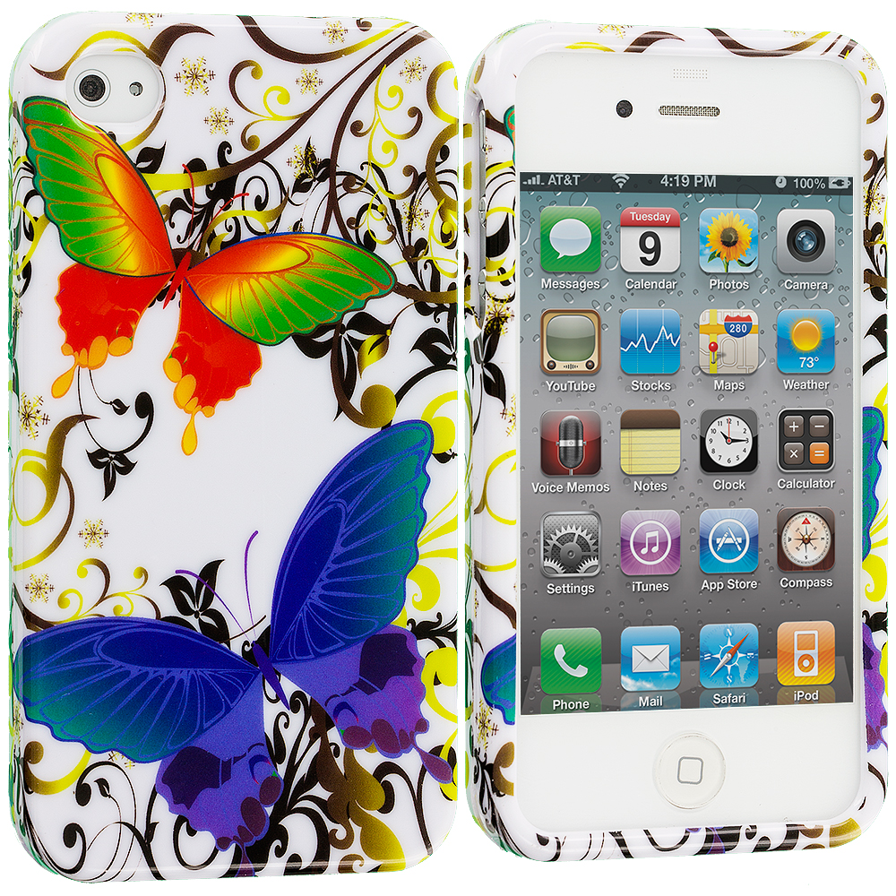 Apple iPhone 4 / 4S Rainbow Butterfly on White Design Crystal Hard Case Cover
